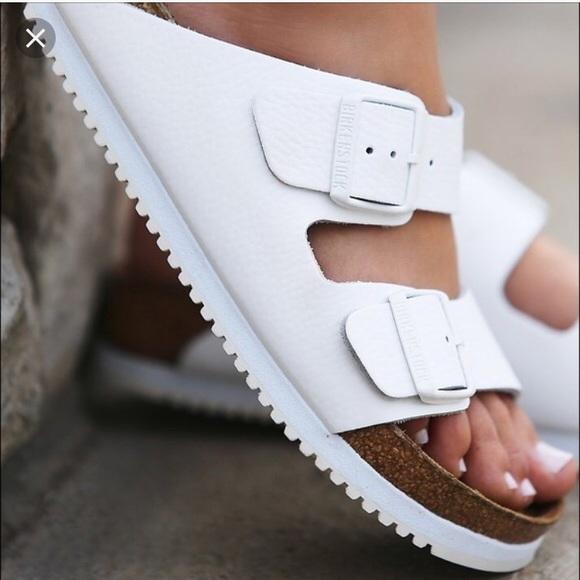 cac4105c495 Birkenstock Shoes - Birkenstock White Arizona Super Grip Soft Footbed